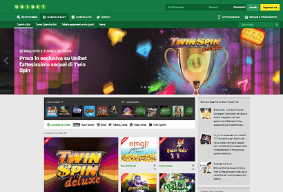 Unibet casino homepage
