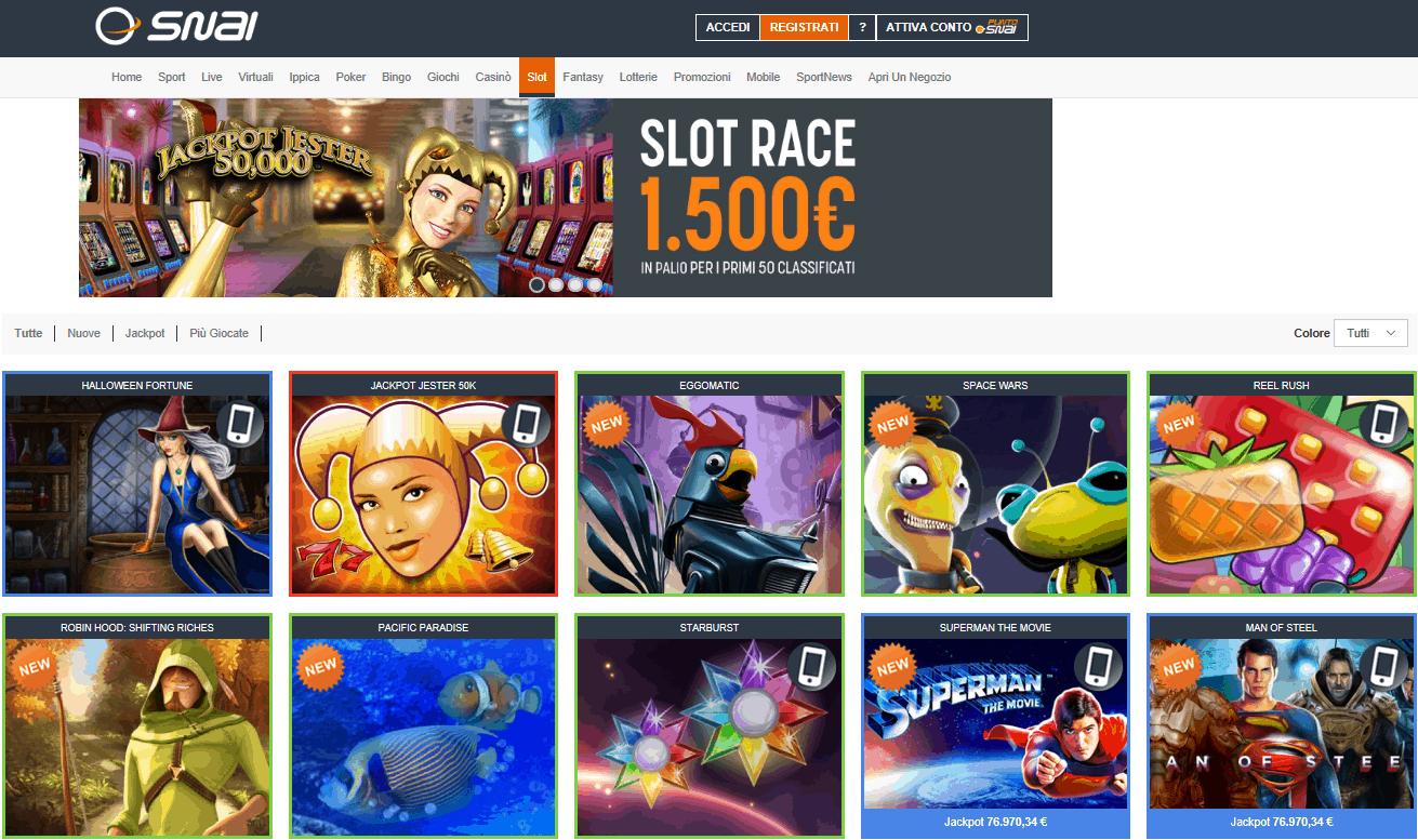 Snai casino homepage