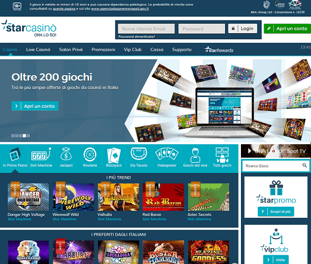 Starcasino homepage