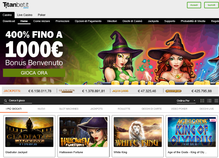 Titanbet homepage