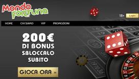 Bonus di benvenuto Mondofortuna: fino a 200€ di bonus