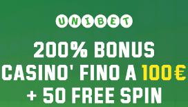 Bonus Benvenuto Unibet: fino a 100€ di bonus casino + 50 giri gratis
