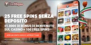 25 free spins senza deposito LeoVegas, la novità dell'estate 2019!